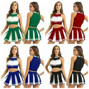 Womens 2PCS Cheerleading Costume Sleeveless Top with Pleated Mini Skirt Outfit