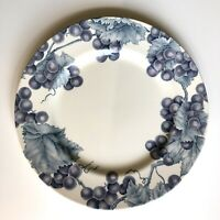 "Pier One Imports VINEYARD Dinner Plate Blue Leaves Grapes 11"" England Angleterre"