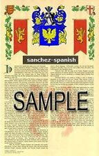 SANCHEZ Armorial Name History - Coat of Arms - Family Crest GIFT! 11x17