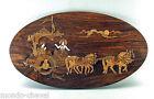 ANCIEN TABLEAU EN MARQUETERIE, bois et os, Inde, dessous de plat ? chevaux