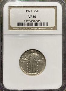 1921 Standing Liberty Quarter NGC VF30. Strong Full Date. Looks XF. Rare Key!