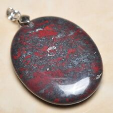 """Silver Clasp 2"""" Pendant #P06173 Extremely Red Natural Bloodstone 925 Sterling"""