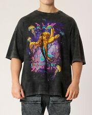 Limited Edition Neon Octopus Space Print Graphic T-shirt in Vintage Washed Black