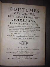 Robert-Joseph POTHIER/ Coutumes duché ORLEANS ,..... / 1780
