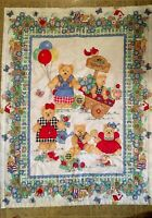 Vtg Baby Quilt with Cute Cuddly Teddy Bears Wearing Bright Clothes in a Garden