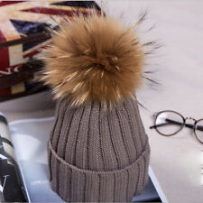 Womens Girls Winter Beanie with Real Fur Pom Pom Wool Knittd Crochet Cuff Hat