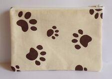 Dog Paw Print Cotton Canvas Fabric Handmade Lrg Zippy Coin Purse Storage Pouch