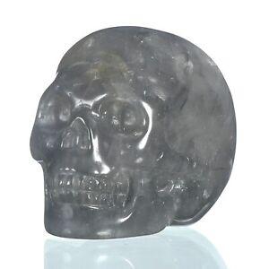 "1.93""Natural Grey Quartz Crystal Carved Skull Metaphysic Healing Power #33E63"