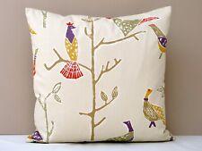 Scion Passaro Bird Design Cushion Cover Terracotta/Natural Backed in Romo Linen
