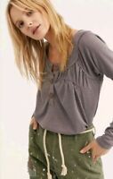 Free People We The Free Must Have Henley Top Tee Grey XSmall XS $68 NWT