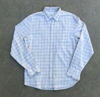 Club Monaco Men's Classic Fit Plaid Grey Button Down Flannel Shirt | Medium