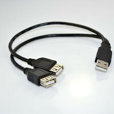 USB 2.0 A Male plug to 2 dual USB A Female jack adapter cable