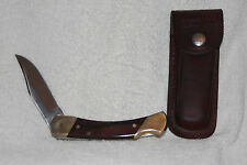 Uncle Henry Schrade + LB7 USA 3 Pin Wood Folding Locking Knife +Leather Sheath