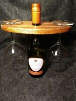 Wine Bottle & Glass Holder - Hand Crafted Mahogany Wood Caddy