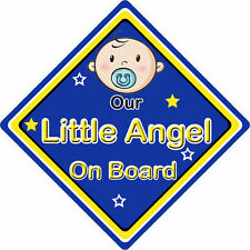 Non Personalised Child/Baby On Board Car Sign ~ Our Little Angel ~ Boy Blue