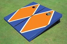 Orange And Blue Matching Diamond Custom Cornhole Board