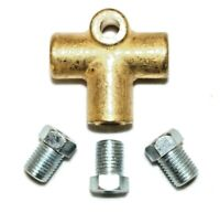 """3 Way Brake T Piece Tee With 3 Male Nuts Short Union 3/8 """" UNF 24 TPI 3/16 Pipe"""