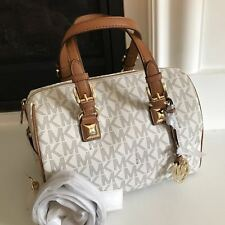 AUTHENTIC MK MICHAEL KORS GRAYSON MEDIUM SIGNATURE VANILLA CHAIN SATCHEL BAG