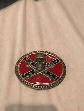 Skull Southern flag belt buckle