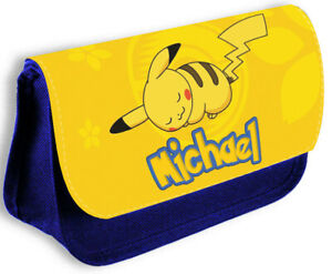 Personalised Any Name Pokemon Blue Pencil Case Make Up Bag School Kids 185
