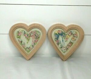 Vintage Barbara Mock Heart Prints Set Of (2) Flowers Floral Pink Peach*