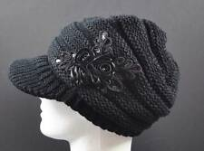 C.C Exclusives Knit Black Hat Cap Flower Ribbon Sequin Piping Brim Beanie Visor