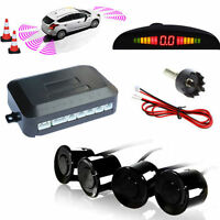 4x Parking Sensors Car Auto Reverse Backup Rear Radar LED Alert System KIT Black