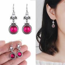 Chic Silver Moonstone Red Agate Dangle Hook Earrings Women Fashion Jewelry Gifts