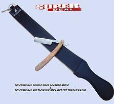 Set of Leather Strop/Belt & barber Straight Edge Cut Throat Shaving Razor/Blade