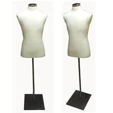 White Male Dress Body Form With Metal Base
