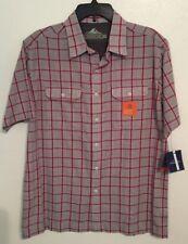 CROFT & BARROW Quick-Dry Button Up Shirt Ventilated Mesh Red/Gray Mens Sz. M NWT