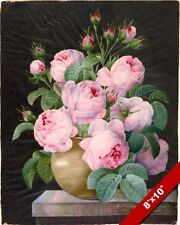 BIG BLOOMING PINK ROSES FLOWERS IN A VASE PAINTING ART REAL CANVAS GICLEEPRINT