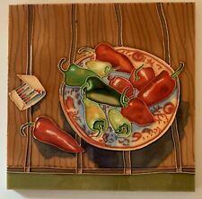 Chili Pepper Plate Decorative Wall Art Ceramic Tile 8x8 New