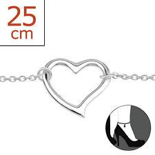 TJS 925 Sterling Silver Anklet Love Heart 22cm Expandable to 25cm Cute Design