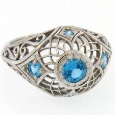 10k White Gold Genuine Blue Topaz Ring - Size 6