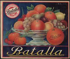 Batalla - Schale mit Obst - Orangen Etikett / Orangenkiste / orange crate label