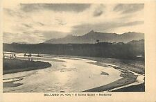 Belluno Il fiume Sacro holy river by night vintage postcard Italy Italia