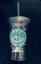 Worlds Best Mom 16 oz Insulated Acrylic Double Wall Tumbler with Straw, Mom Gift