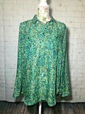Ann Taylor LOFT Women's Green Long Sleeve Semi-sheer Pullover Blouse Sz Medium