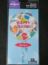 Happy Birthday Balloon Confetti Horns 18 inch Anagram Foil Celebration Party