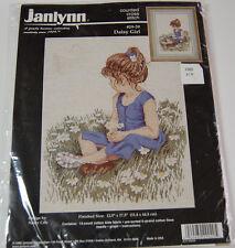"Janlynn 1996 Daisy Girl Counted Cross Stitch Kit 12.5""x17.5"" Child Spring NIP"