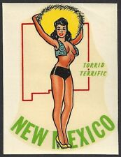 "VINTAGE ORIGINAL 1948 ""MISS NEW MEXICO"" STATE SEXY PINUP TRAVEL WATER DECAL ART"