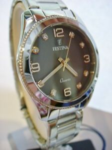 New FESTINA Boyfriend Ladies Diamond Steel Watch F20208/2