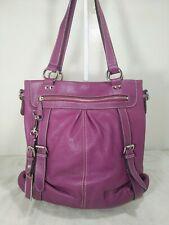 London fog %100 genuine leather purple large tote shoulder bag purse