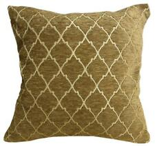 Wd23Ba Gold Brown Damask Chenille Check Throw Cushion Cover/Pillow Case *Size