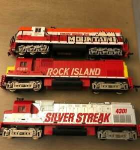 3 Tyco HO Train Engine Rock Island 4301 Rocky Mountain 4301 Silver Streak AS IS