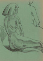 Albert Wainwright (1898-1943) - Mid 20th Century Pen Drawing, Seated Nude