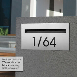 75mm NUMBER BLACK Slimline Steel - Powder Coated -  DOOR, LETTERBOX HOUSE, WALL