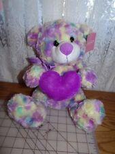 "10"" sitting NWT Holiday Home 7/14  Bear 2005 Purple+Tye dye Colors Plush Stuffed"