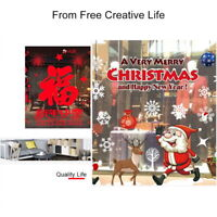Santa  Snowflake Window Clings Reusable Stickers Christmas Decorations Decal